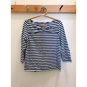 Kate spade striped bow boatneck top, XL